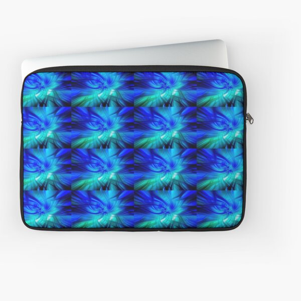 Abstract Swirl Lionfish In Green  - Mixed Media DiveArt Laptop Sleeve