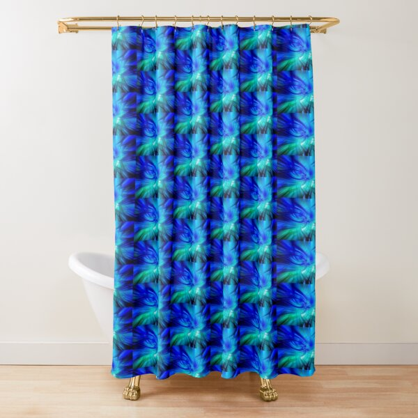 Abstract Swirl Lionfish In Green  - Mixed Media DiveArt Shower Curtain