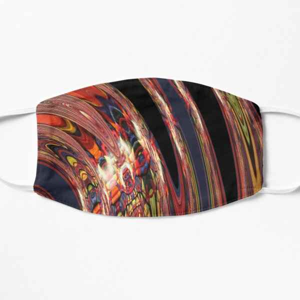 Water Droplet of Red and Black Swirls Flat Mask