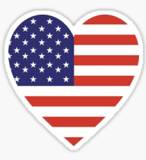American Flag, USA, Heart, Stars & Stripes, Pure & Simple, Americana, America, on WHITE Sticker