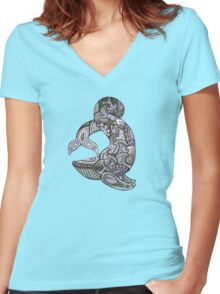 Blue Whale Tee Women's Fitted V-Neck T-Shirt