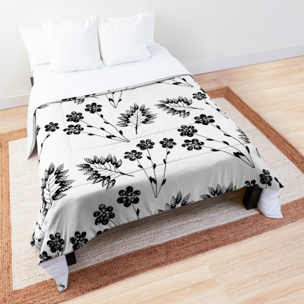 Black Flowers and Leaf Comforter