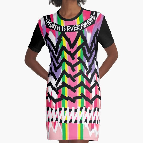 Church is Everywhere, Spirituality and Raw Energy from Abstract Shapes and Fat Black Lines Graphic T-Shirt Dress