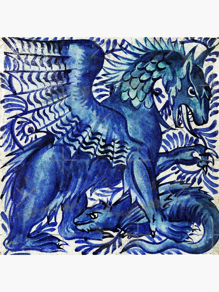 BLUE DRAGON WITH BABY DRAGO Art Nouveau Animals by BulganLumini