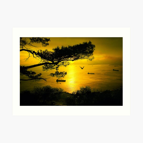 Golden Sunset Gibraltar Art Print