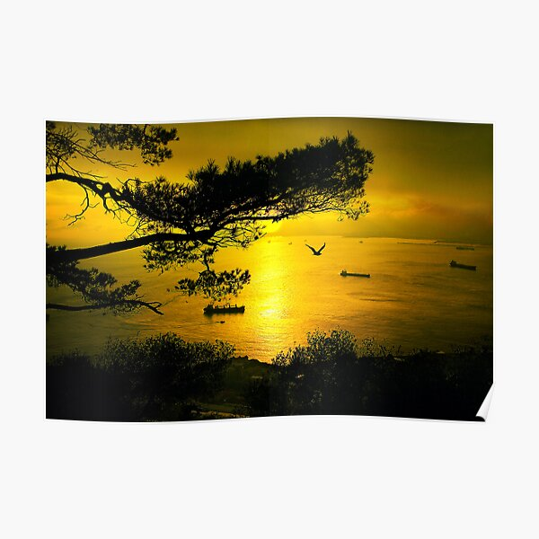 Golden Sunset Gibraltar Poster