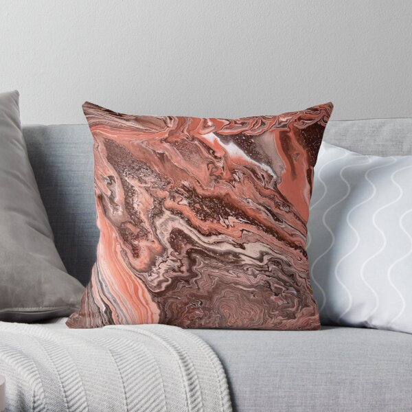 Rose Gold Ravine Throw Pillow
