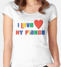 """Engaged """"I Love My Fiance"""" Women's Fitted Scoop T-Shirt"""