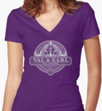 Val & Earl, Pest Control Women's Fitted V-Neck T-Shirt