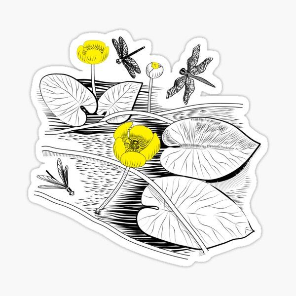 Water-lilies Vector graphic black Sticker