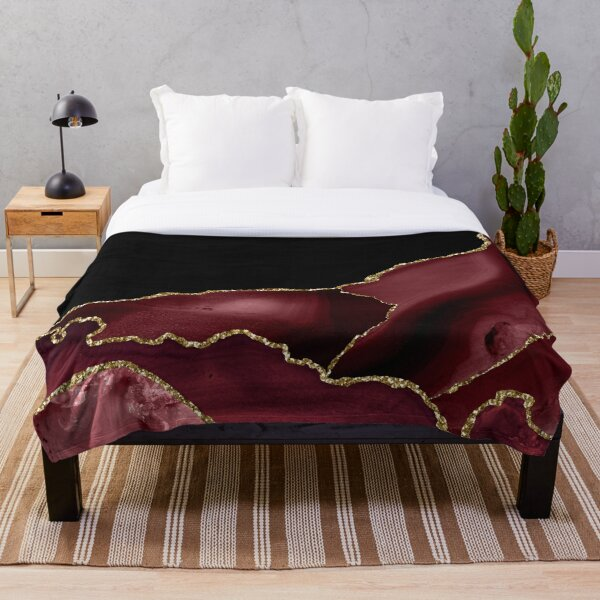 Burgundy & Gold Agate Texture 03 Throw Blanket