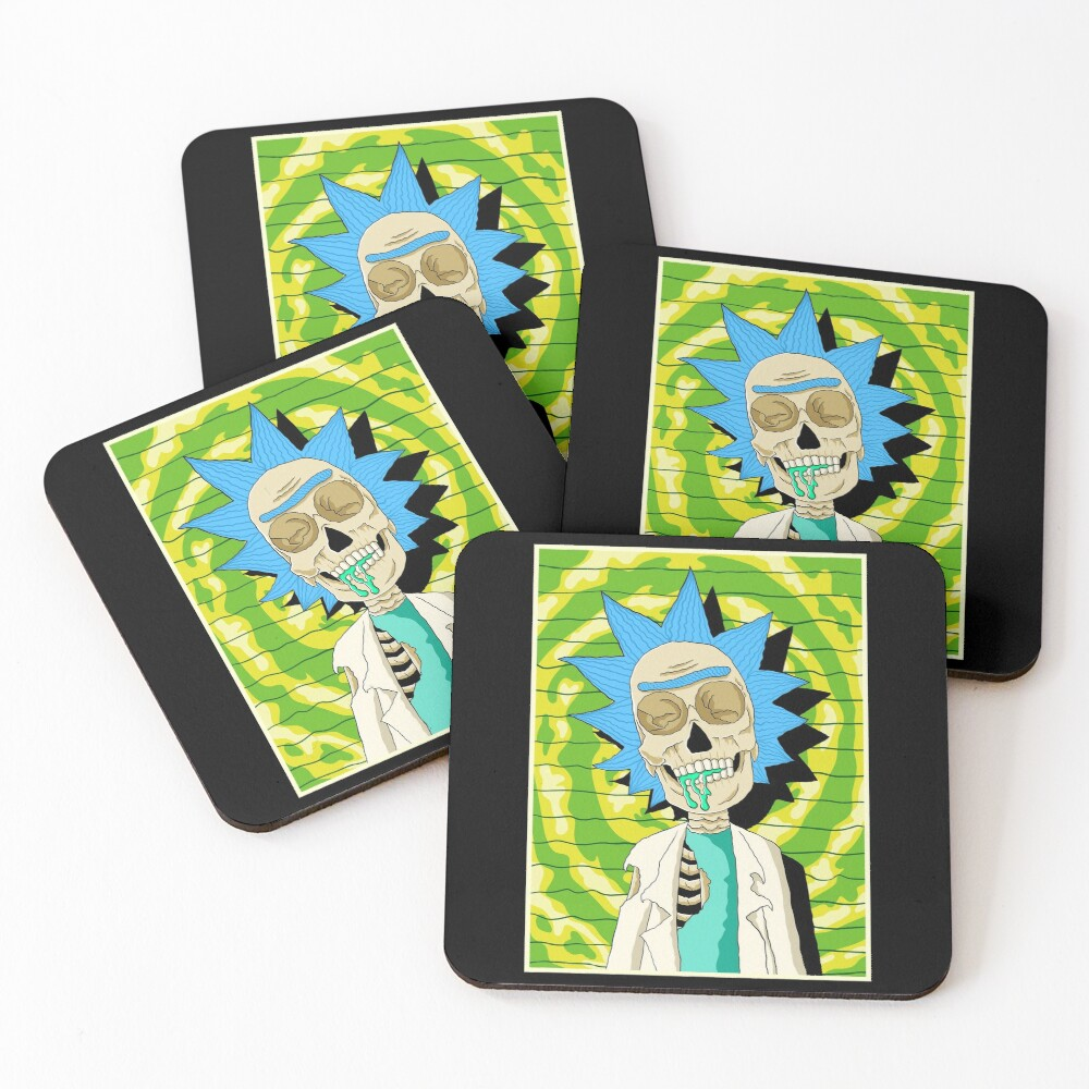 rick and morty skull Coasters (Set of 4)