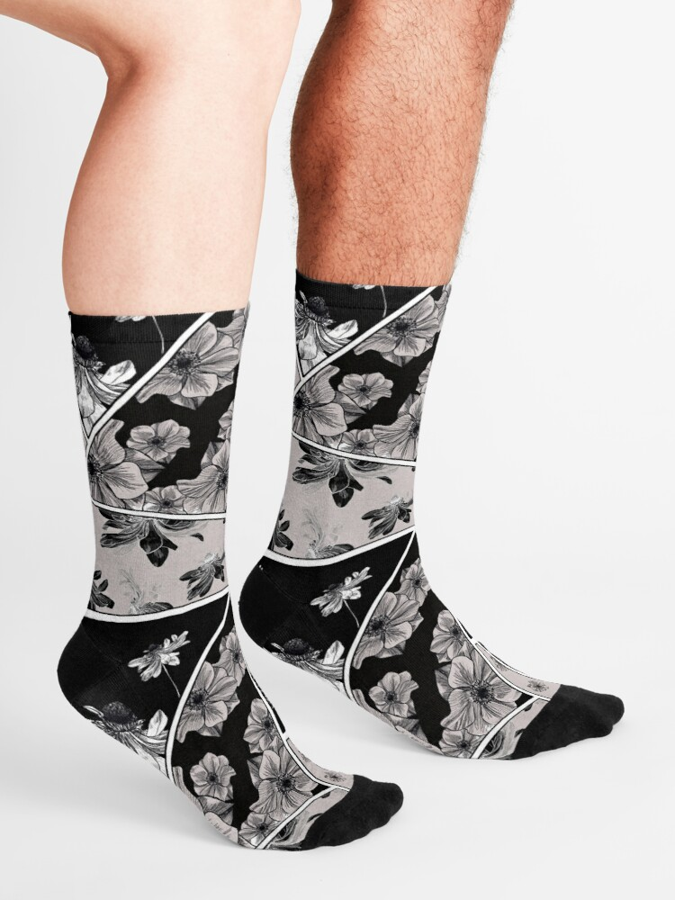 Cotton Crew Socks For Men Women Casual Socks With Geometric Magpie Minimal Print