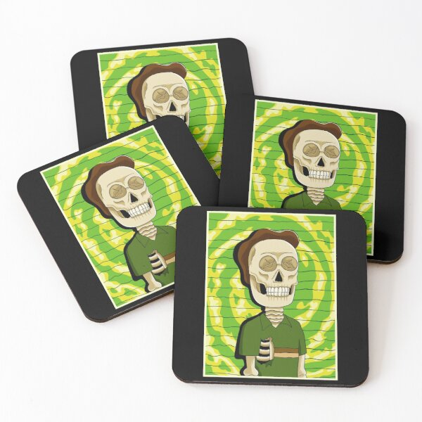 jerry rick and morty skull Coasters (Set of 4)