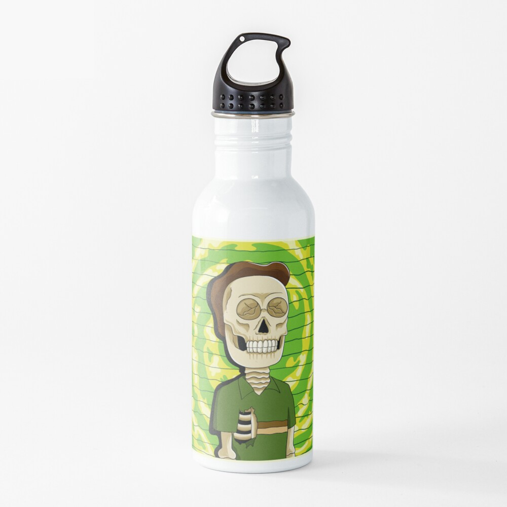 jerry rick and morty skull Water Bottle