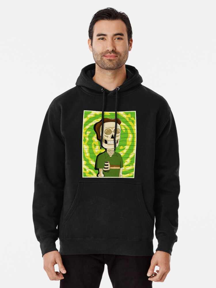 Alternate view of jerry rick and morty skull Pullover Hoodie