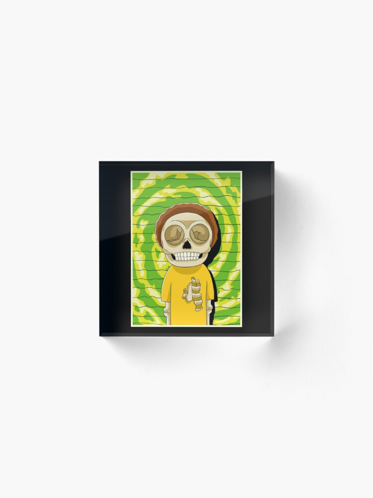 Alternate view of morty  rick and morty skull Acrylic Block