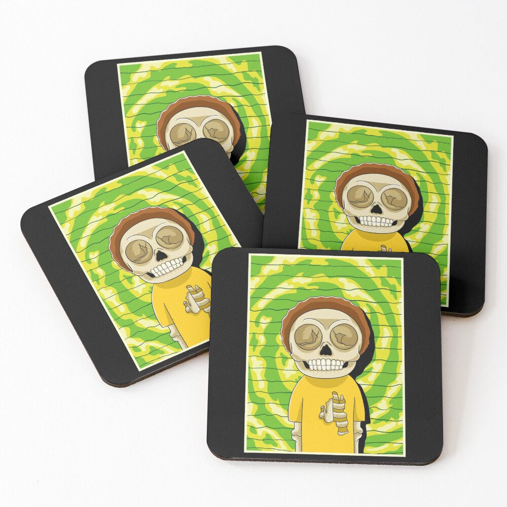 morty  rick and morty skull Coasters (Set of 4)