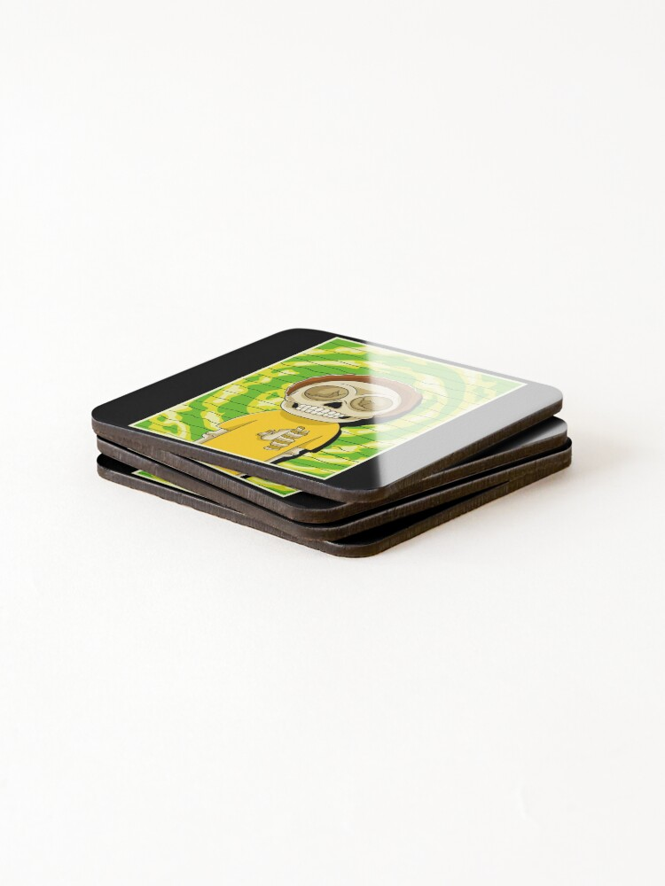 Alternate view of morty  rick and morty skull Coasters (Set of 4)