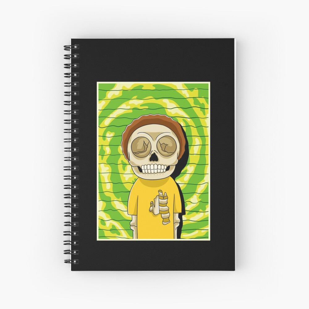 morty  rick and morty skull Spiral Notebook