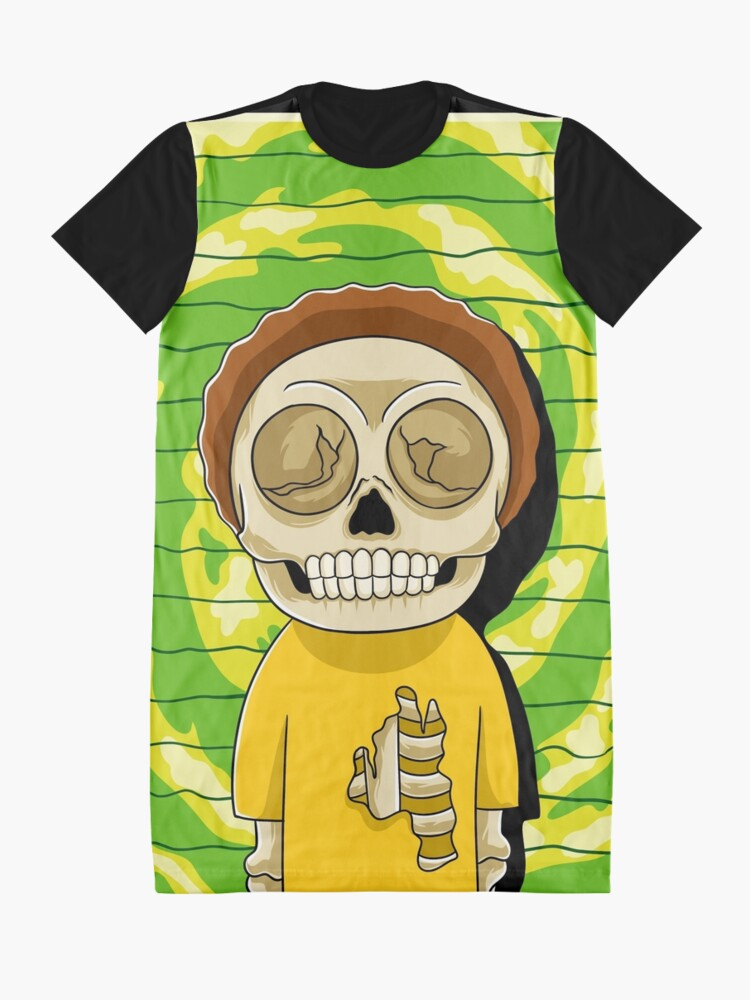 Alternate view of morty  rick and morty skull Graphic T-Shirt Dress