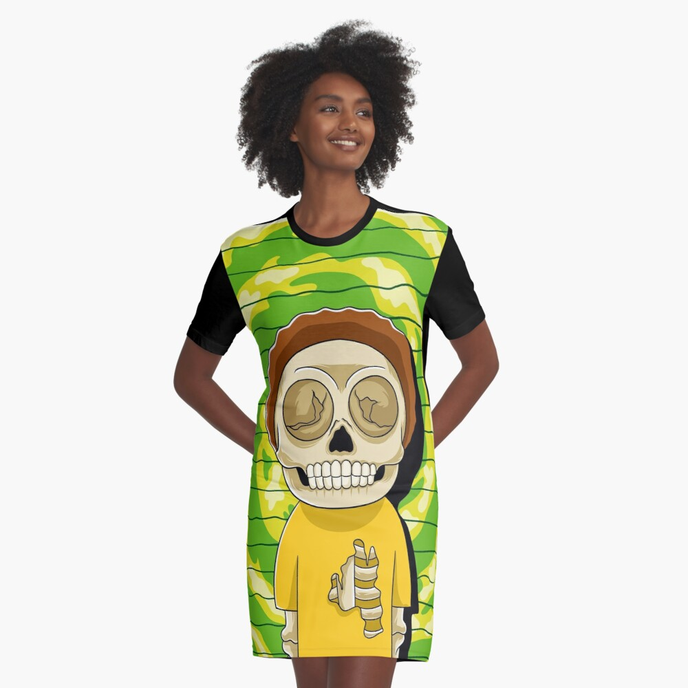 morty  rick and morty skull Graphic T-Shirt Dress