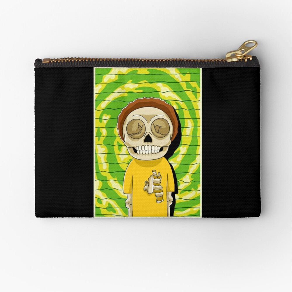 morty  rick and morty skull Zipper Pouch