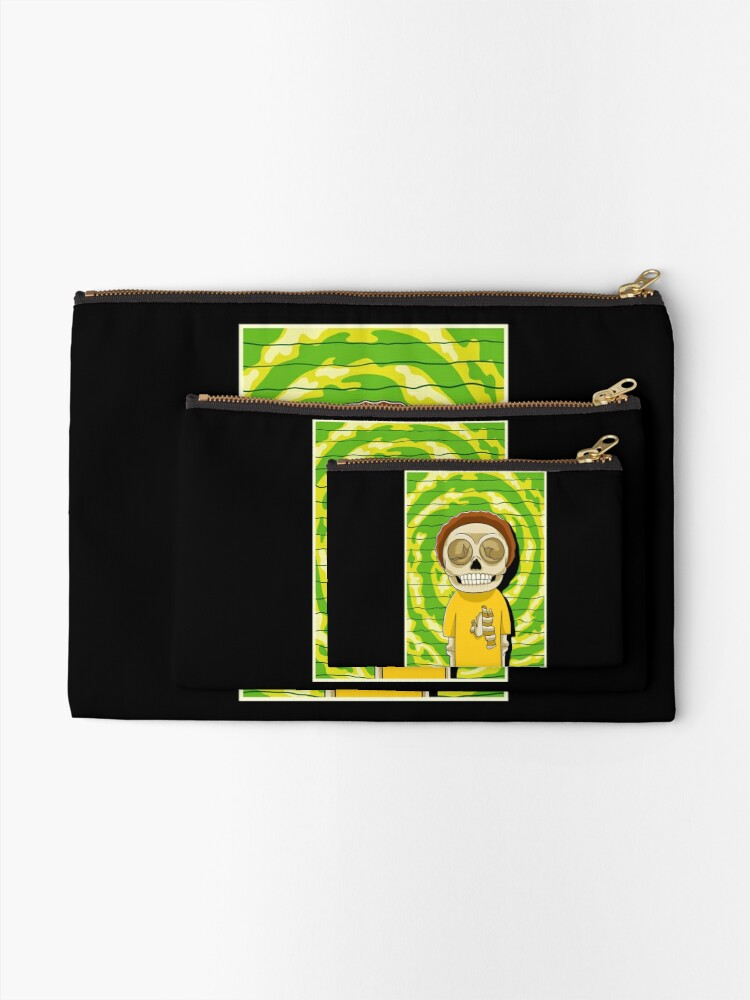 Alternate view of morty  rick and morty skull Zipper Pouch