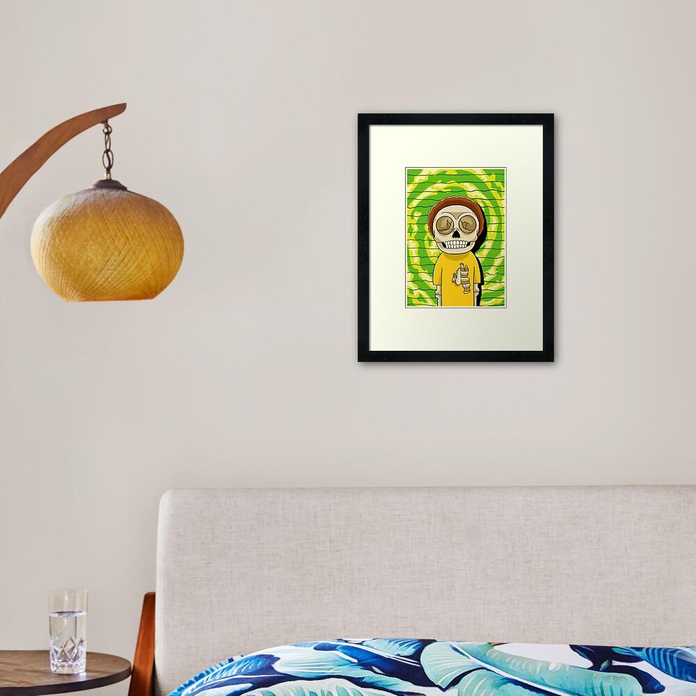 morty  rick and morty skull Framed Art Print