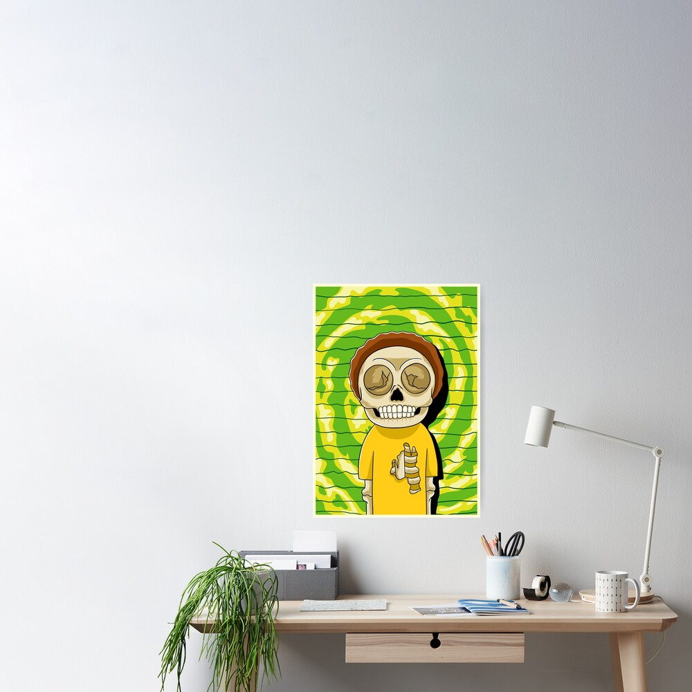 morty  rick and morty skull Poster