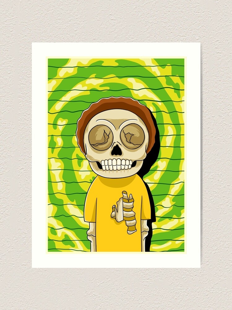 Alternate view of morty  rick and morty skull Art Print