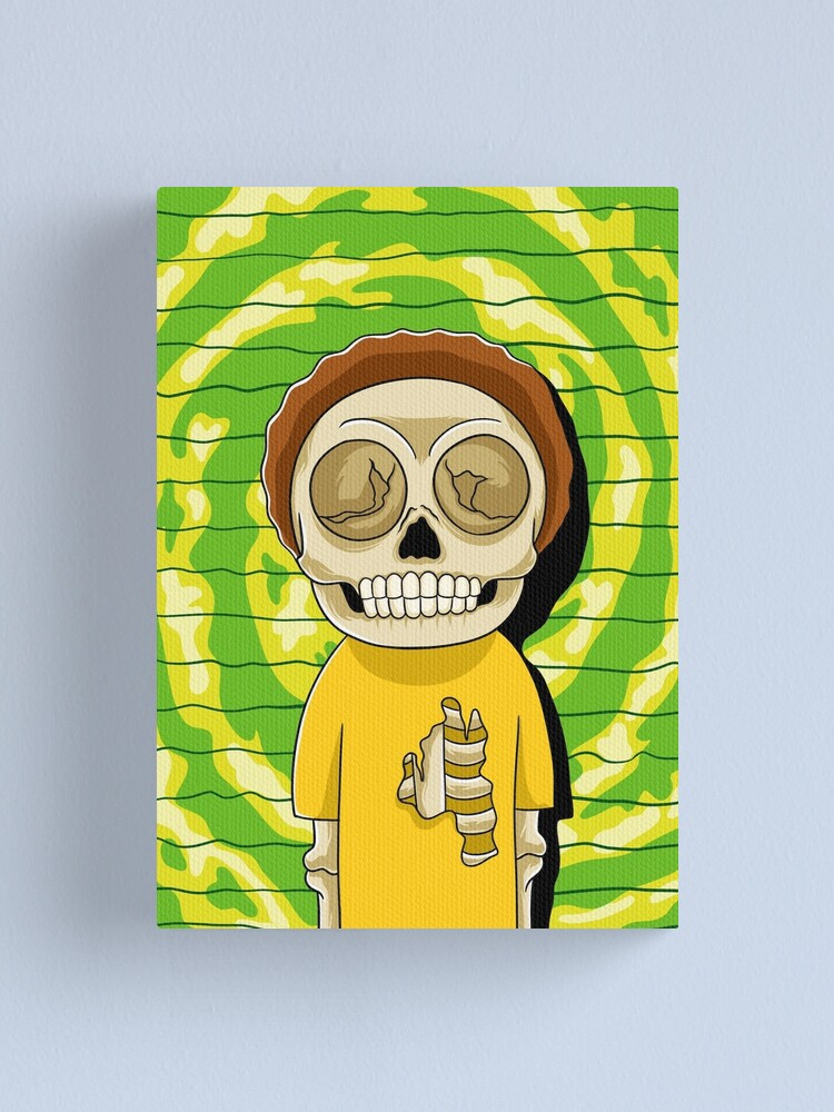 Alternate view of morty  rick and morty skull Canvas Print