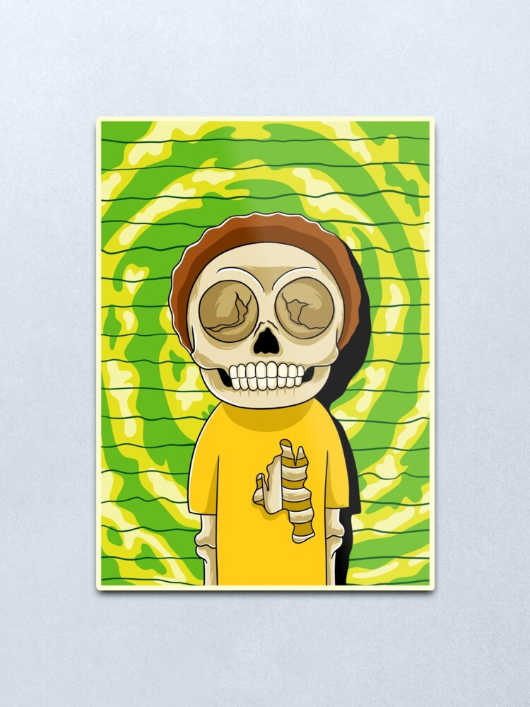 Alternate view of morty  rick and morty skull Metal Print