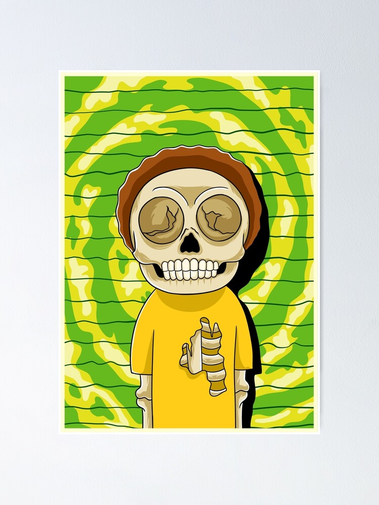 Alternate view of morty  rick and morty skull Poster