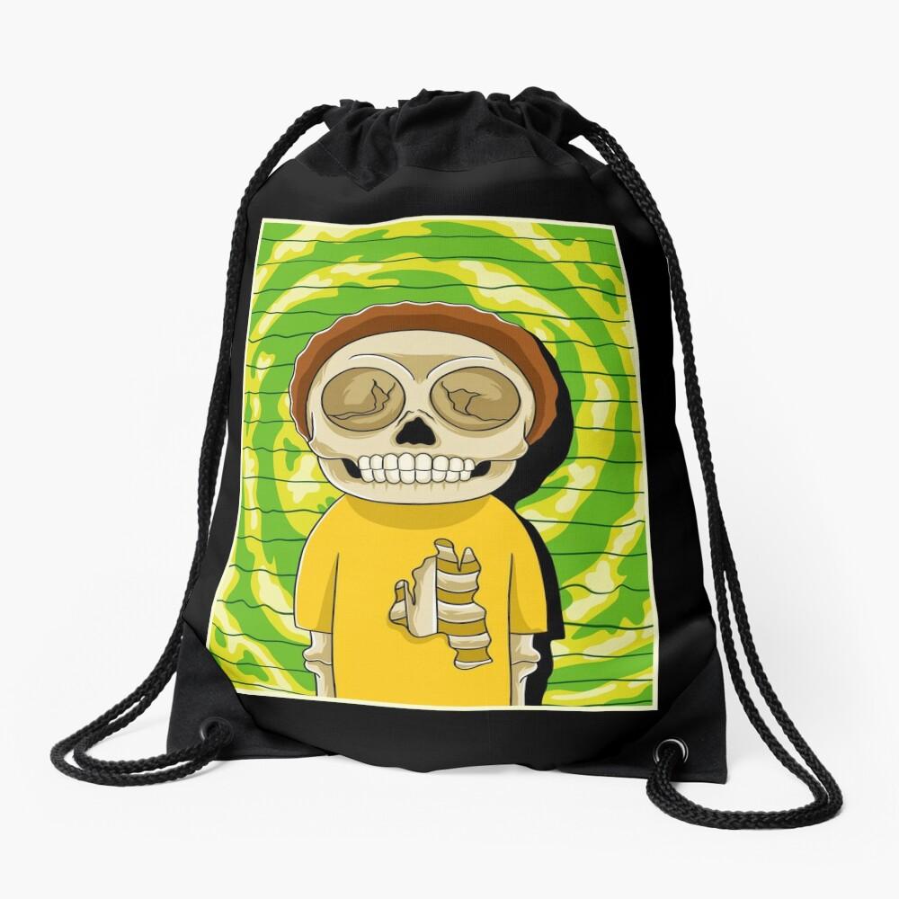 morty  rick and morty skull Drawstring Bag