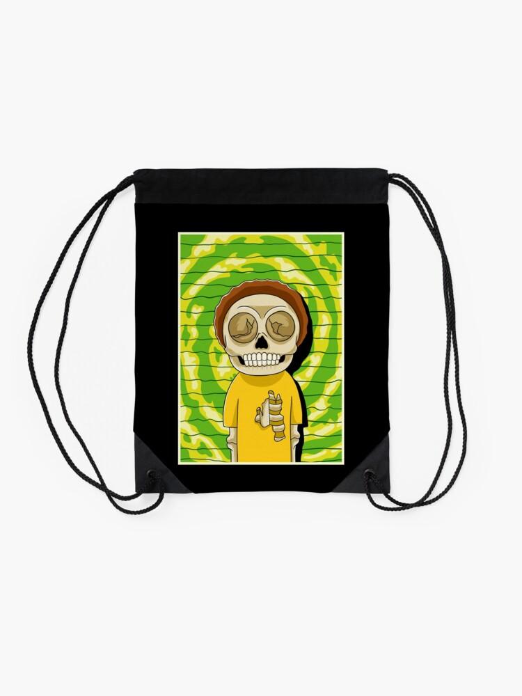 Alternate view of morty  rick and morty skull Drawstring Bag