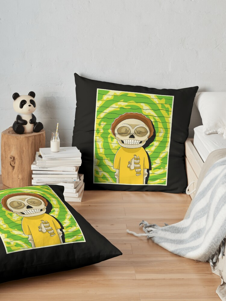 Alternate view of morty  rick and morty skull Floor Pillow