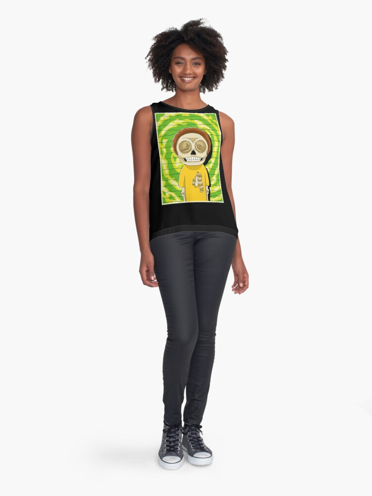 Alternate view of morty  rick and morty skull Sleeveless Top