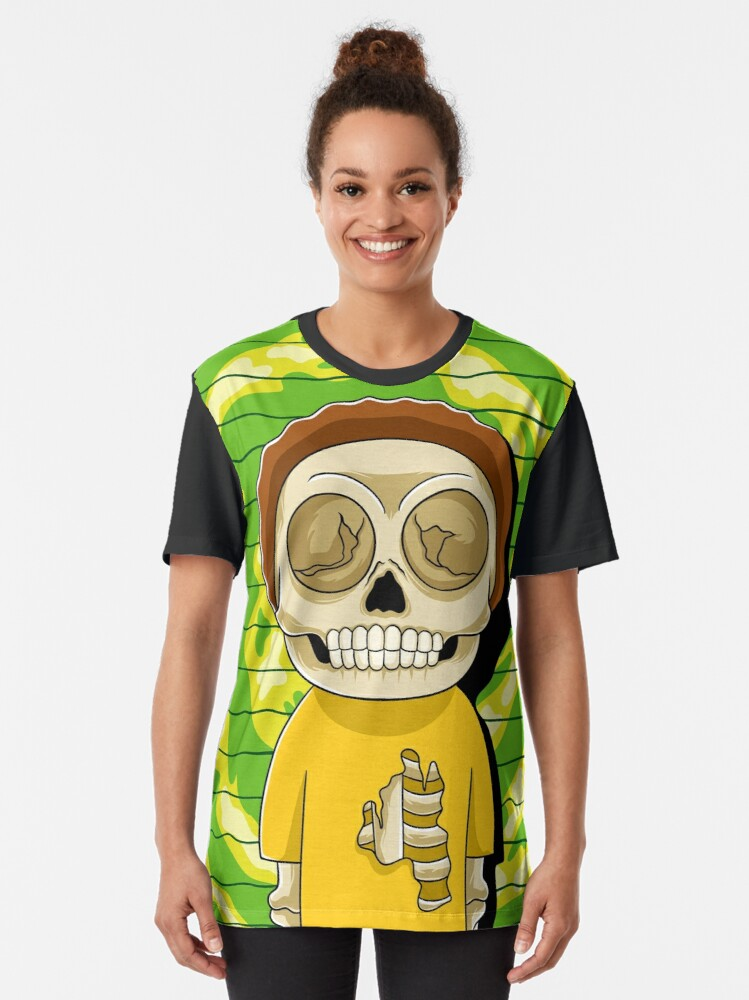 Alternate view of morty  rick and morty skull Graphic T-Shirt