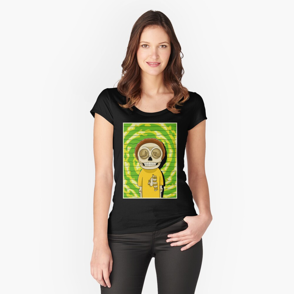 morty  rick and morty skull Fitted Scoop T-Shirt