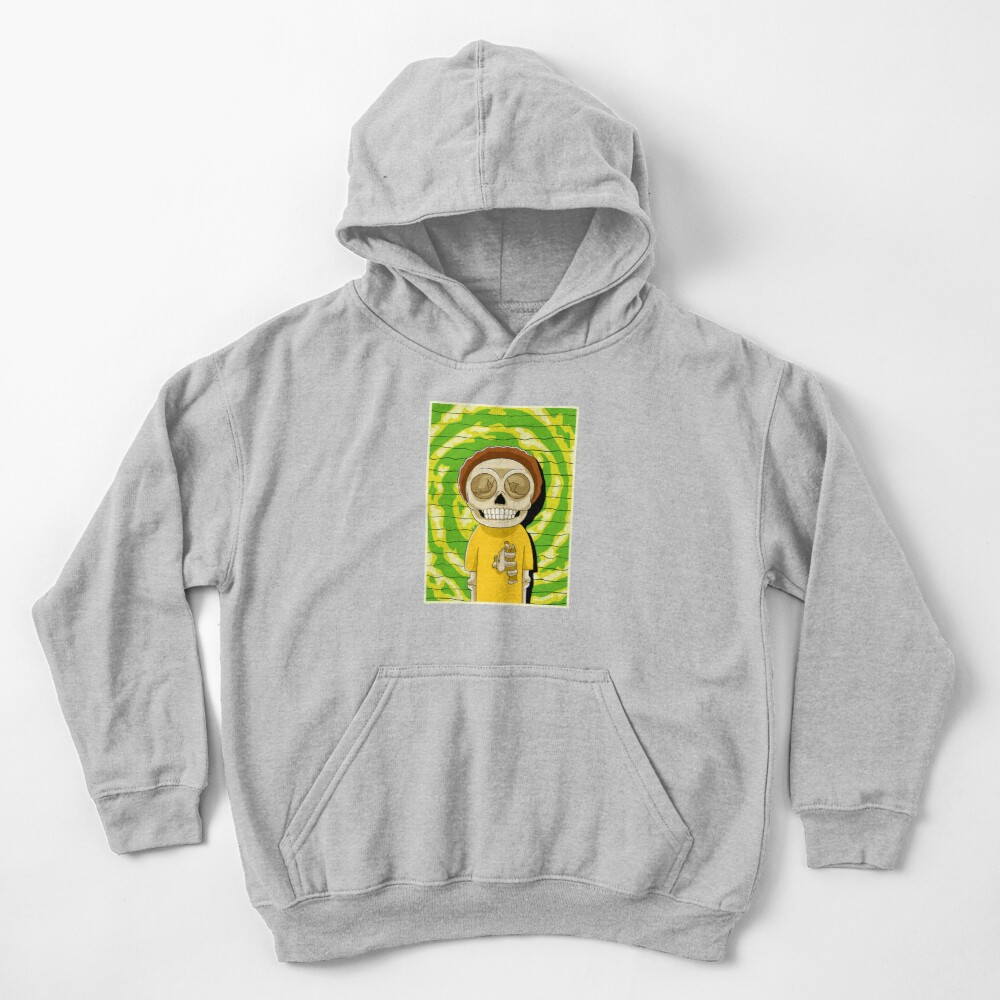 morty  rick and morty skull Kids Pullover Hoodie