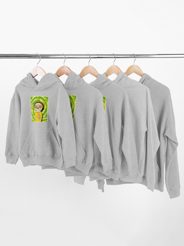 Alternate view of morty  rick and morty skull Kids Pullover Hoodie