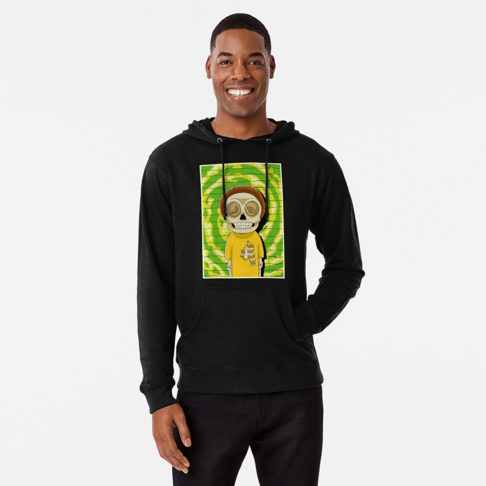 morty  rick and morty skull Lightweight Hoodie