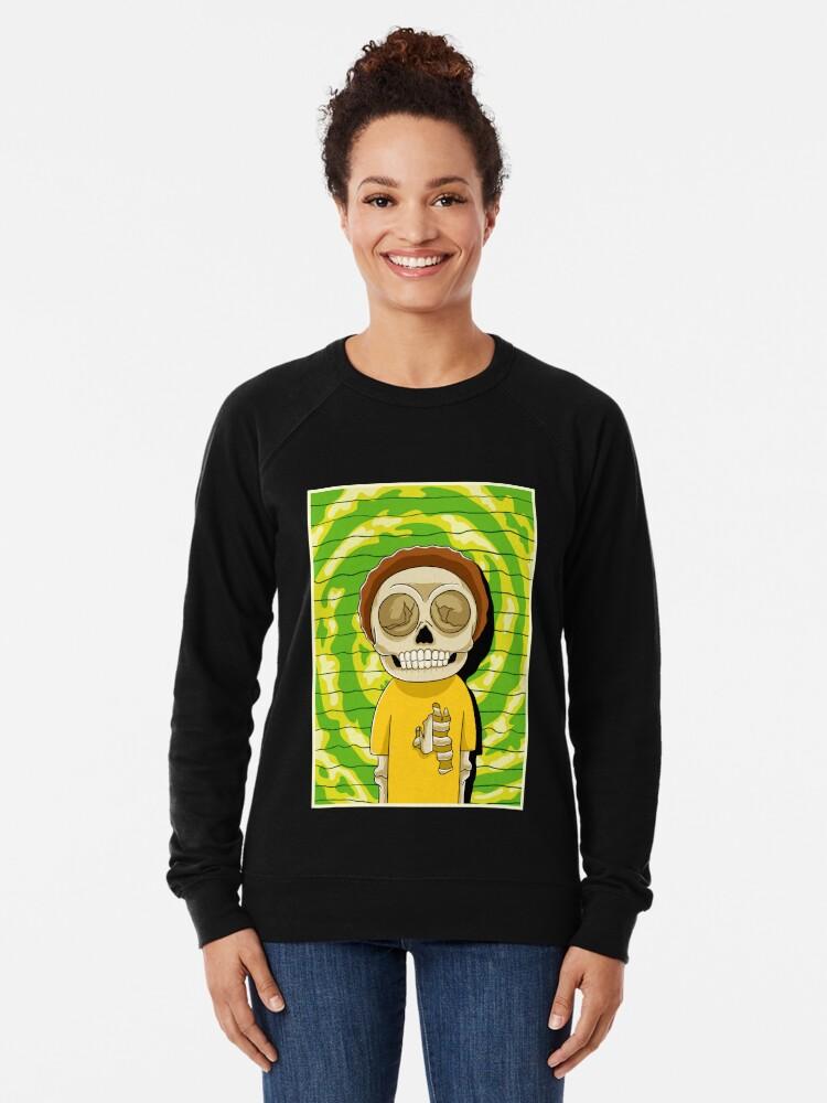 Alternate view of morty  rick and morty skull Lightweight Sweatshirt