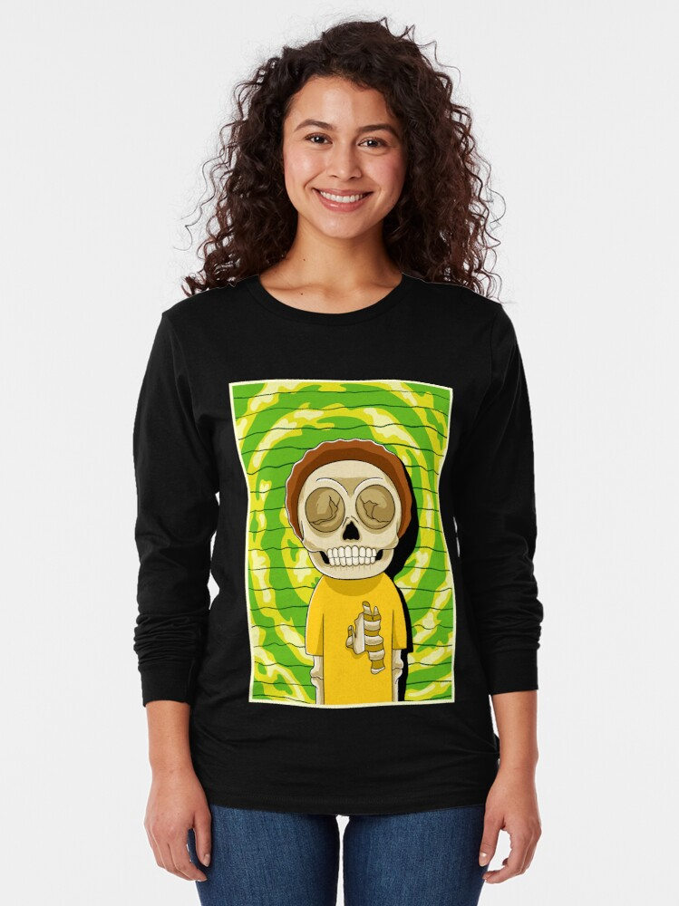 Alternate view of morty  rick and morty skull Long Sleeve T-Shirt