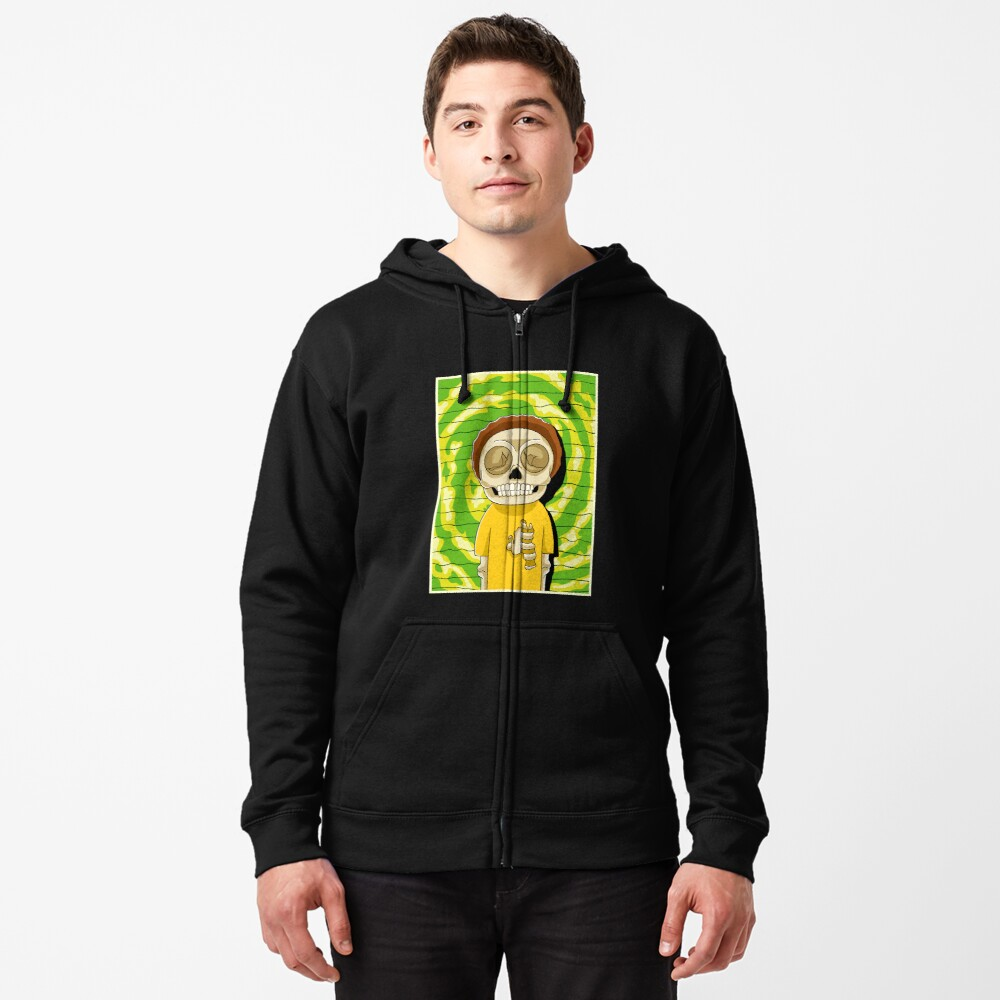 morty  rick and morty skull Zipped Hoodie