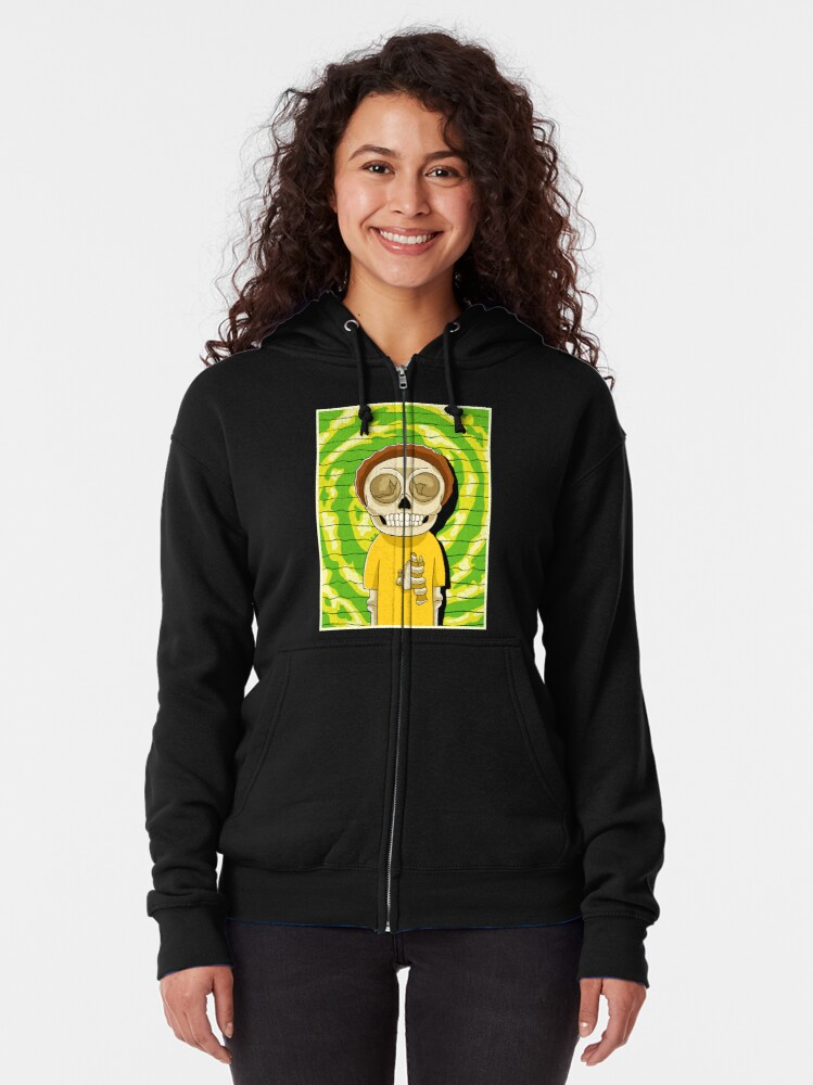 Alternate view of morty  rick and morty skull Zipped Hoodie