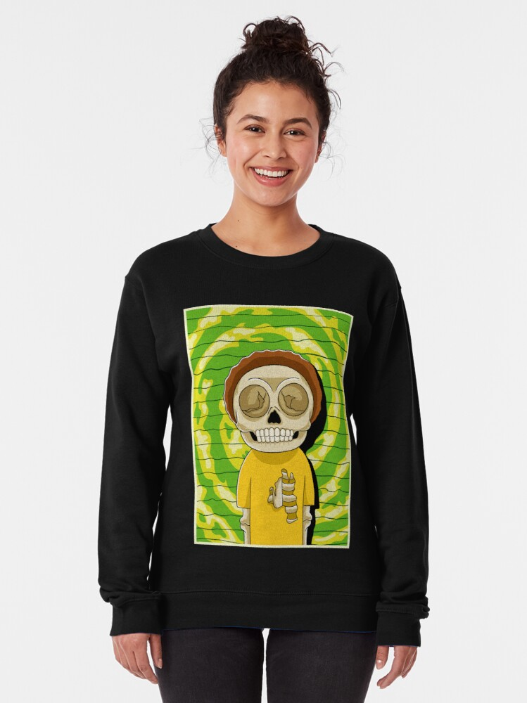 Alternate view of morty  rick and morty skull Pullover Sweatshirt