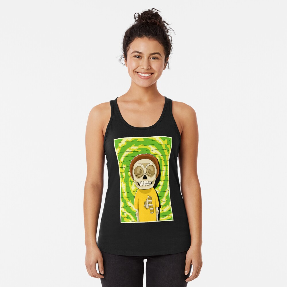 morty  rick and morty skull Racerback Tank Top