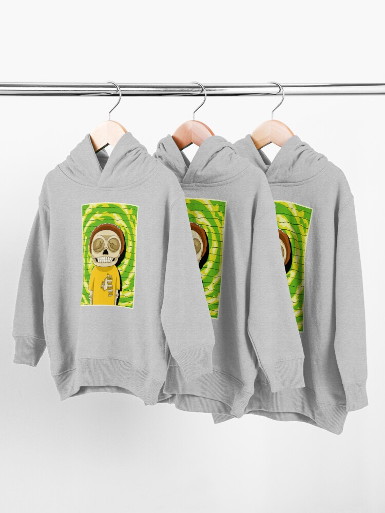 Alternate view of morty  rick and morty skull Toddler Pullover Hoodie